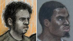 Courts sketches of Michael Adebowale and Michael Adebolajo