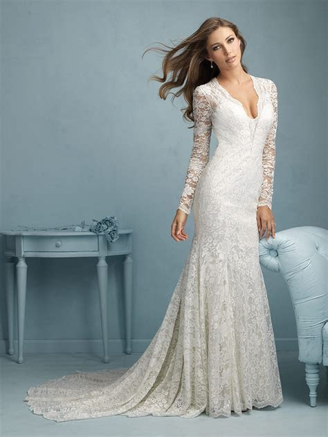 Allure 9213 Lace Satin Deep V Neck Long Sleeves Illusion