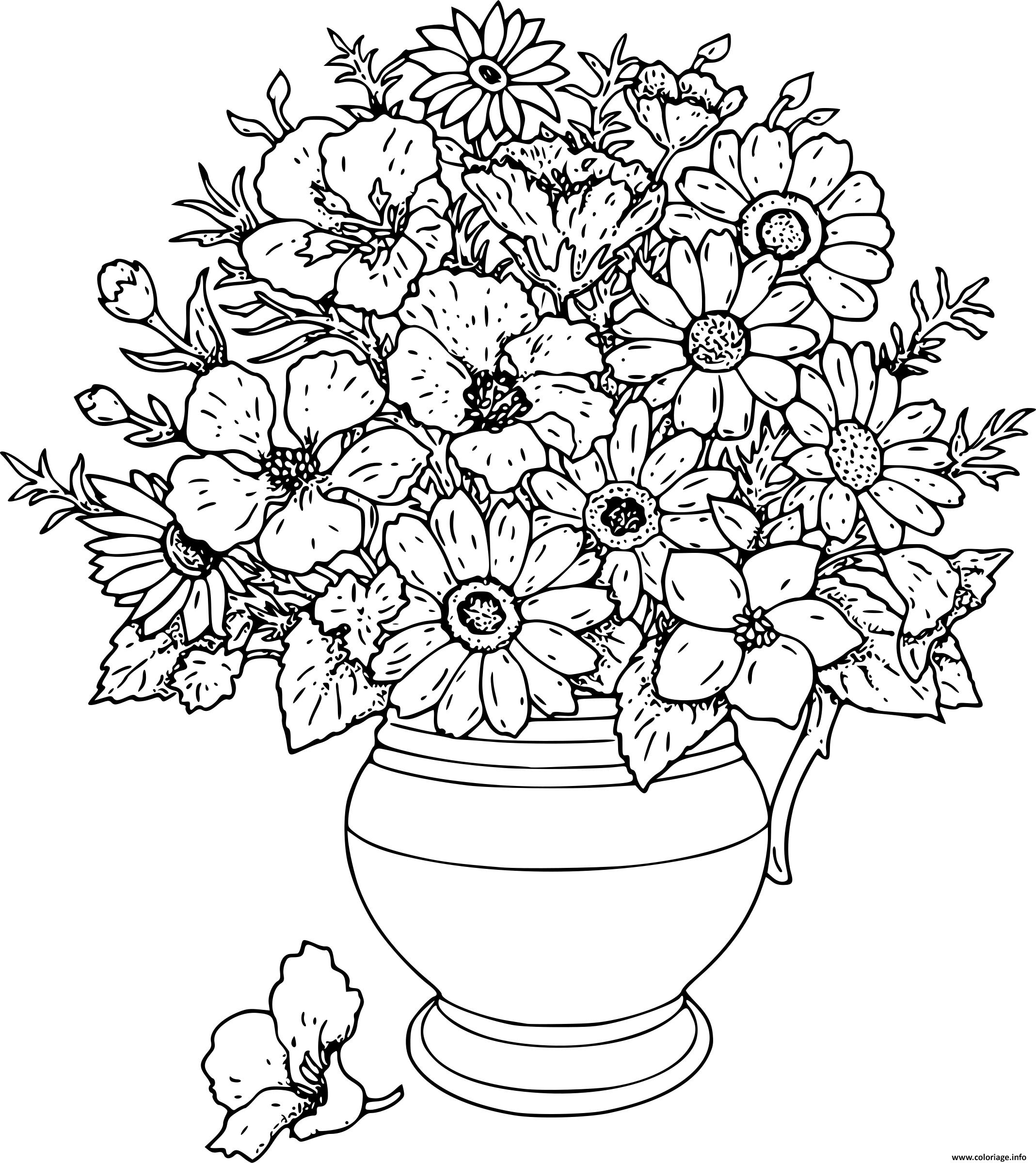 Coloriage Bouquet De Fleurs Adulte Jecoloriecom