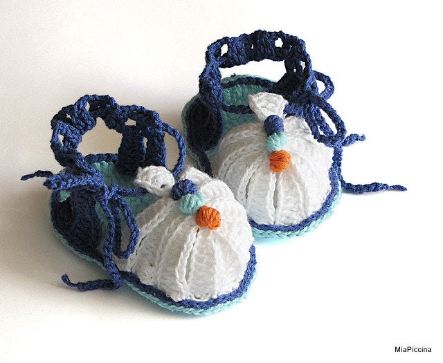 Baby summer sandals, crochet, size 0-3M - MiaPiccina