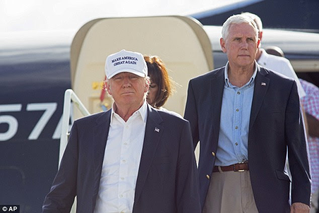 Trump and running mate Mike Pence toured flood damage in Louisiana earlier Friday