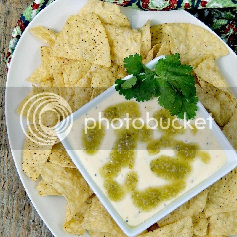 Slow Cooker Queso Blanco with Salsa Verde Vinaigrette