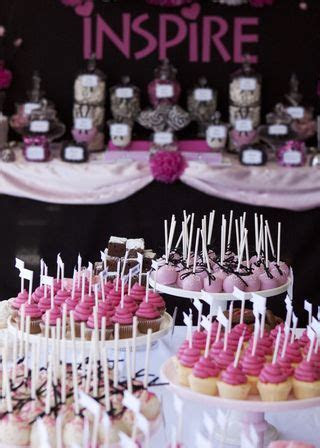 hot pink and black dessert table and candy buffet, hot