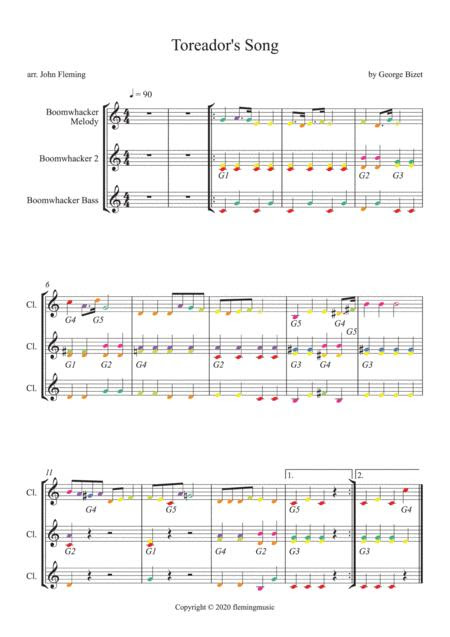 Toreadors Song From Carmen For Boomwhackers Music Sheet Download Topmusicsheet Com