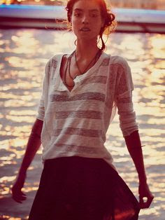 Free People Sheer Stripe Henley at Free People Clothing Boutique