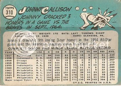 #310 Johnny Callison (back)