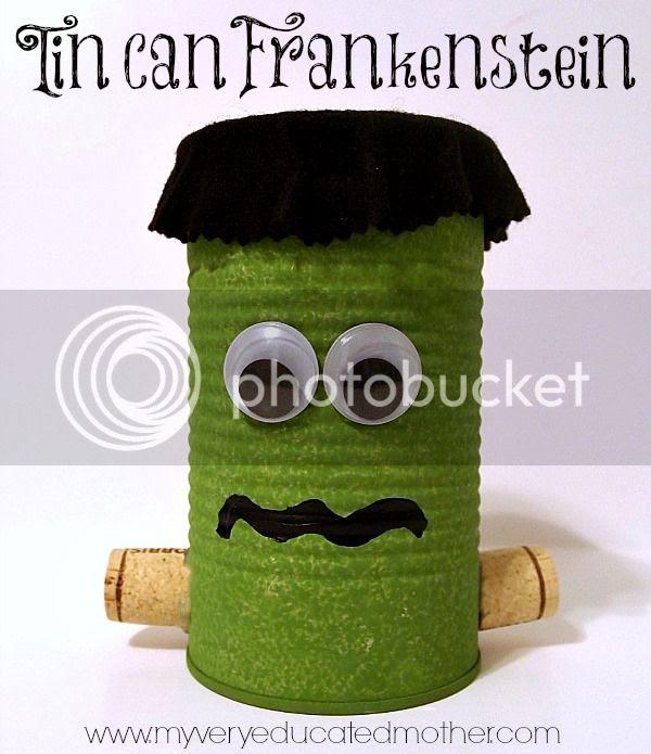 Tin Can Creature: Frankenstein via @mvemother #fall #crafts #Halloween