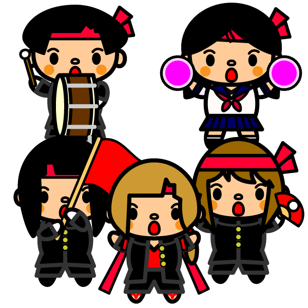 かわいい体育祭女子応援団の無料イラスト商用フリー オイデ43