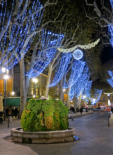 Christmas lights along the Cours Mirabeau in Aix-en-Provence