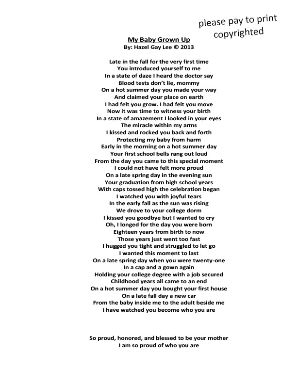 Hazelgaylee My Baby Grown Up Poem About Watching Our Children