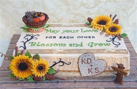 Rustic Themed cake with Sunflowers and Birds Nest   bridal