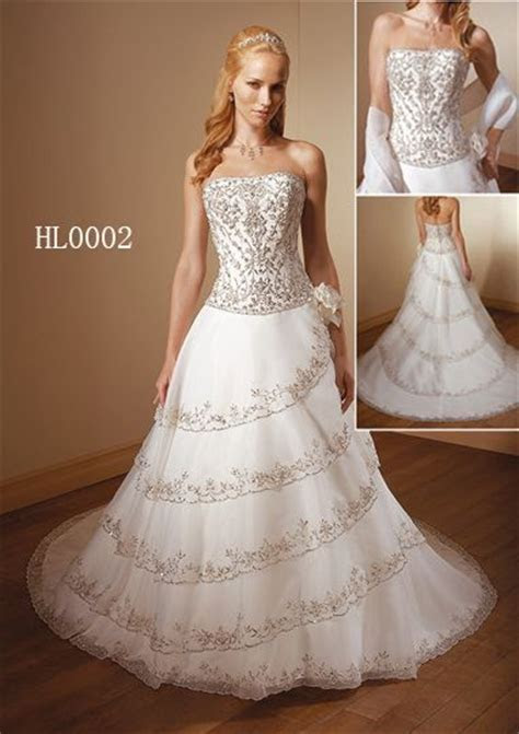 Embroidered wedding gowns are wedding dresses with color