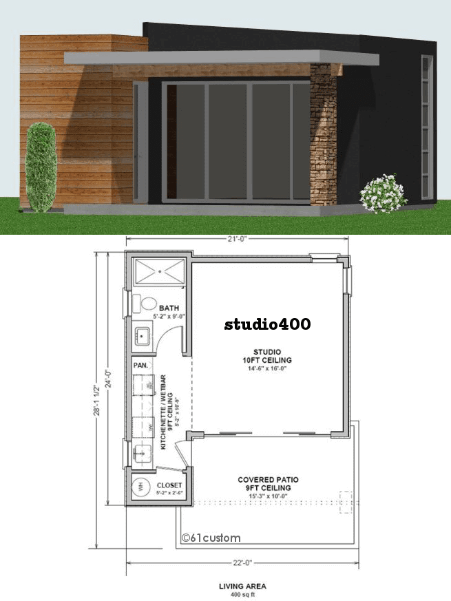 studio400: Tiny Guest House Plan 61custom Contemporary Modern House Plans - 670 Sq. Ft. Tiny Cottage Plans