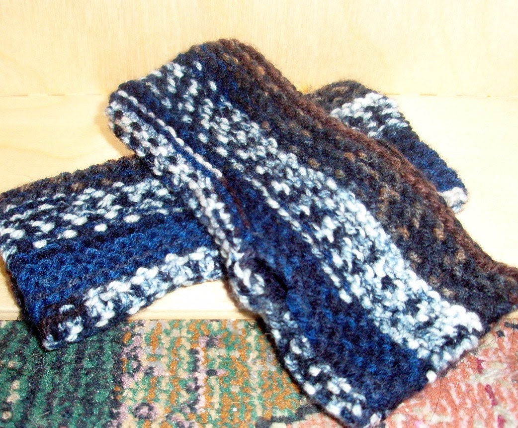 Earth and Sky - knit handwarmers