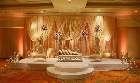 Gold color Muslim Wedding ceremony Stage decor contains