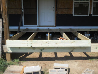 Porch Joists in Place with Outside Header