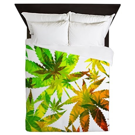 Marijuana Cannabis Leaves Pattern Queen Duvet