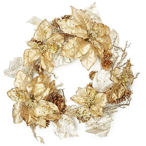 Gold Artificial Poinsettia Wreath   Craft Supplies Sale