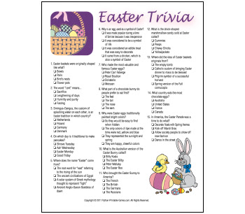 Printable Easter Trivia Game