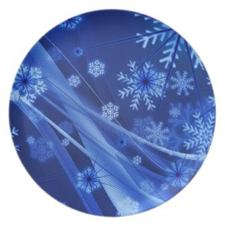 Abstract blue Christmas snowflakes composition Dinner Plates
