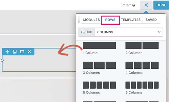 Add rows to your landing page