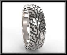 Unique Tire Tread Men's Wedding Band In Sterling Silver