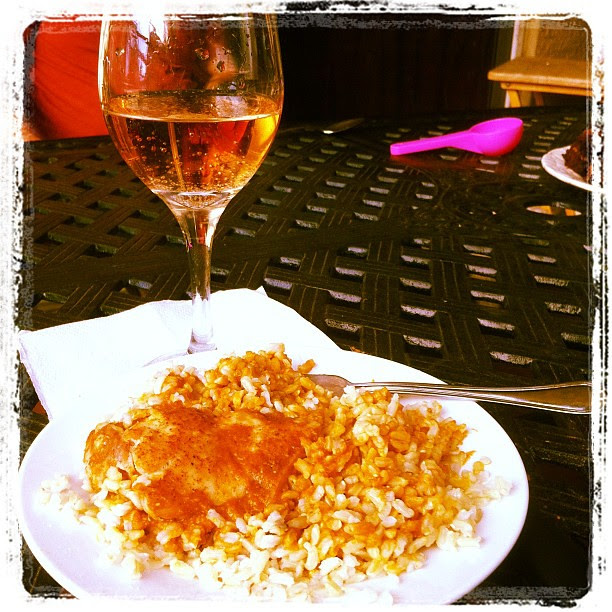 Curried lentil tomato soup over chicken and rice. #sistersbday #yummy