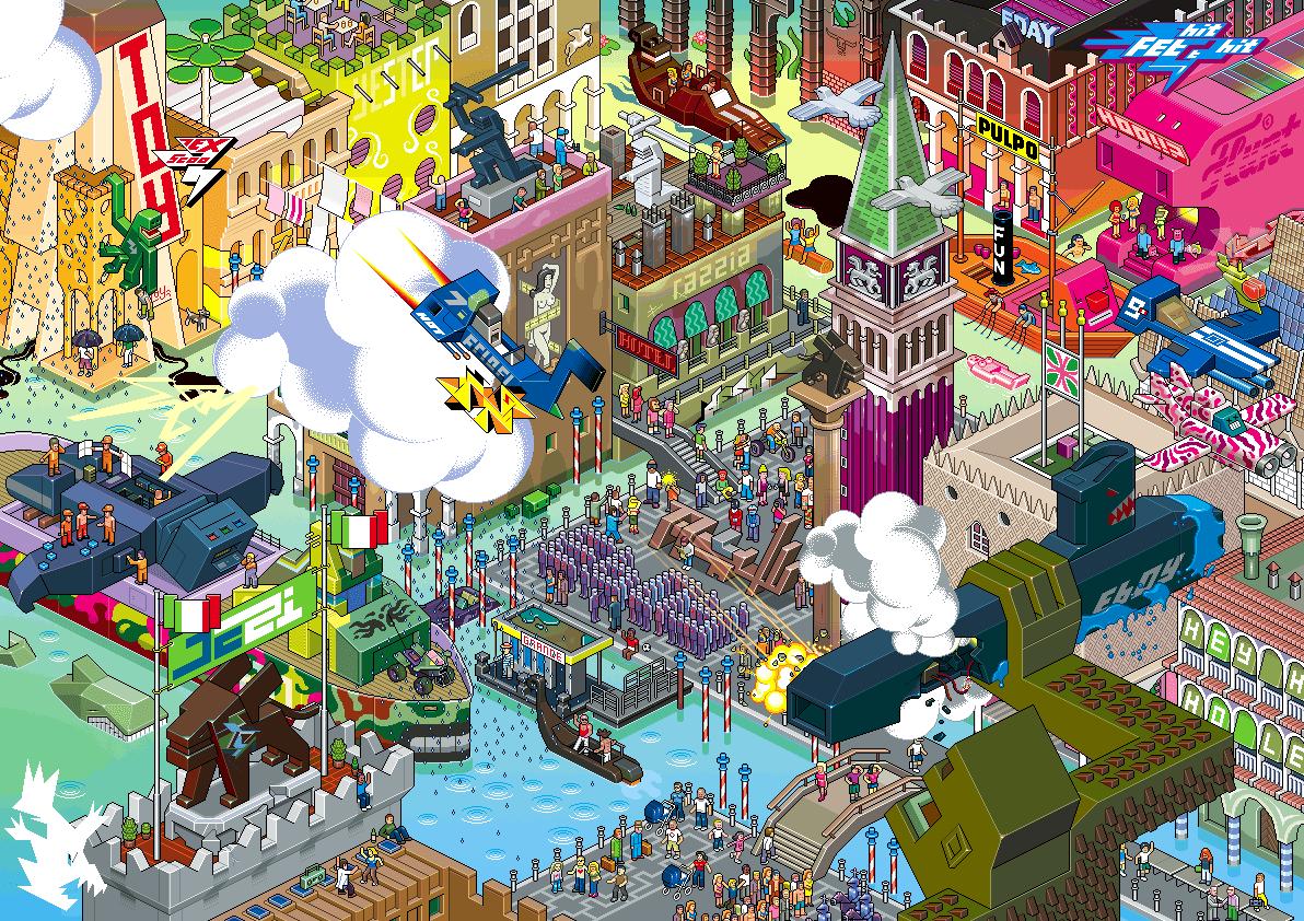 Eboy ville pixel art Venise Les villes pixelisés deBoy  design art