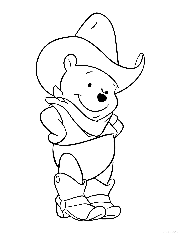 Coloriage Winnie De Pooh Ourson En Mode Cowboy Jecoloriecom