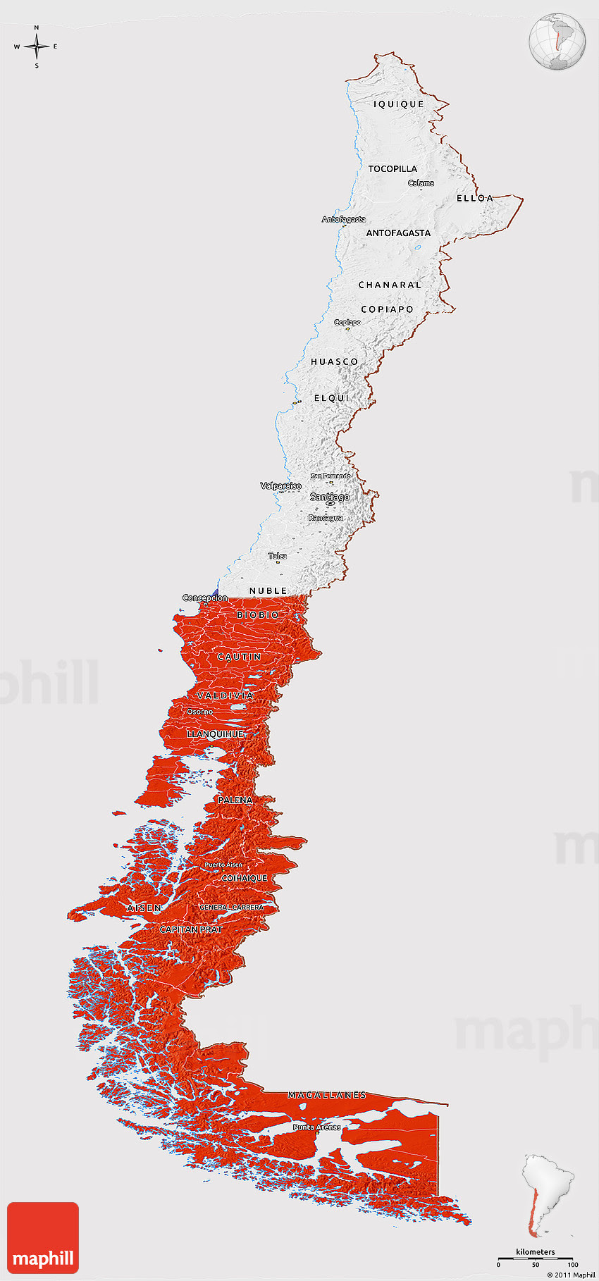 Flag Panoramic Map Of Chile