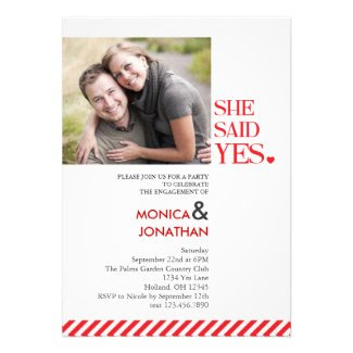 She Said Yes Engagement Party Photo Invitation