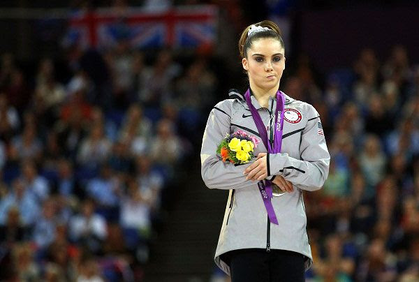 McKayla Maroney makes her now-famous scowl after winning a silver medal for the women's vault final on August 5, 2012.