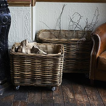 Rectangular Rattan Log Basket With Wheels