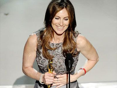 Kathryn Bigelow holds the Academy Award trophy that she won for Best Director on THE HURT LOCKER.