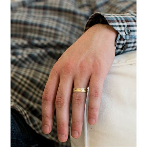 Mens Simple Concave Gold Band   Melanie Casey Jewelry