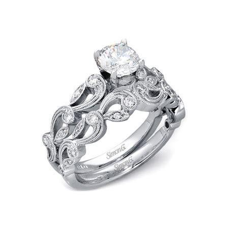 .33ct Simon G Diamond Antique Style 18k White Gold