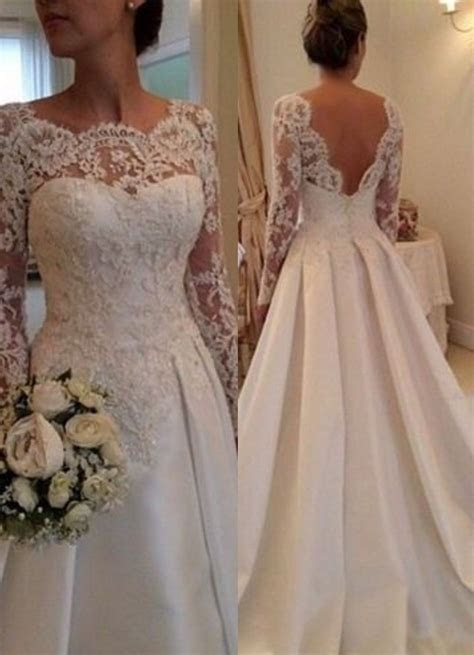 Lace Long Sleeves Beach Wedding Dresses Beading Satin Open