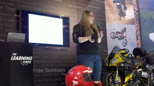 Brittany Morrow 'Rock the Gear' talking about safety gear. #motorcycleshow