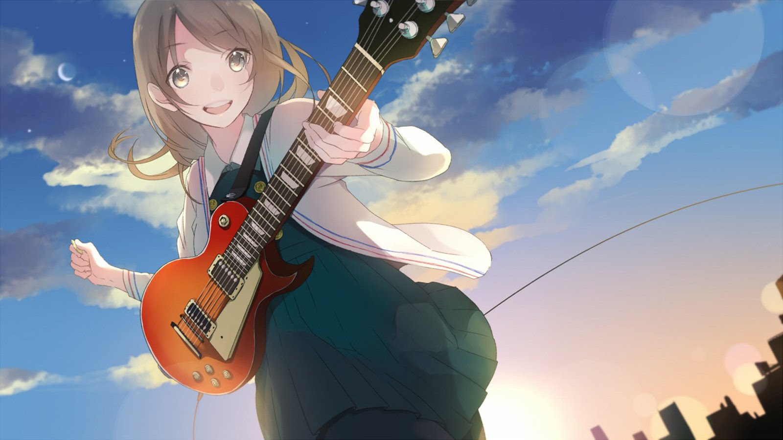 Cute Anime Girl With Guitar | Zoom Wallpapers
