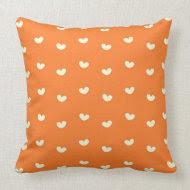 cute hearts on orange pattern throwpillow