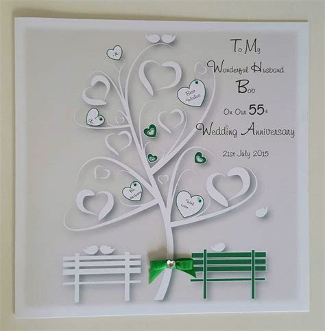 Large Personalised On Our 55th Emerald Wedding Anniversary