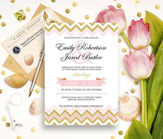 Gold Weddings Invitation Printable - Glam Golden Glitter Chevron ...