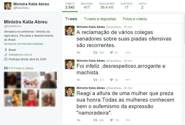 Ministra Kátia Abreu diz no Twitter que reagiu 'à altura' a uma brincadeira de senador (Foto: Reprodução/Twitter)