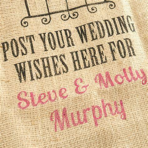 Personalised Hessian Sack   Wedding Wishes
