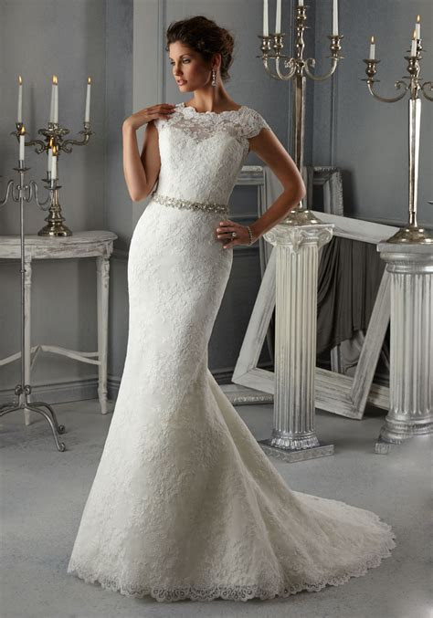 Morilee Bridal Allover Alencon Lace Wedding Dress with