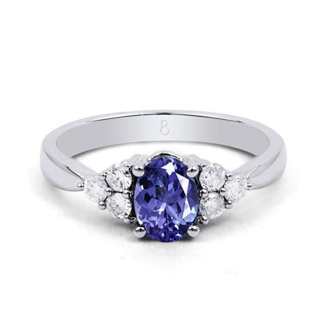 18ct White Gold Tanzanite & Diamond Vintage Engagement