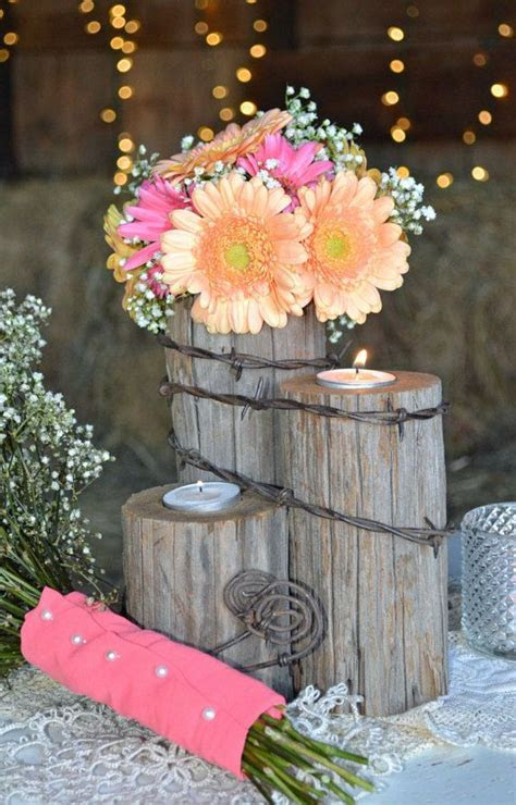 Rustic country western wedding tealight centerpiece/Home