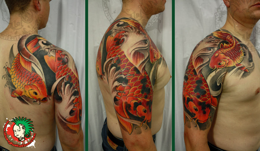 Colored Ink Koi Half Sleeve Tattoos For Men