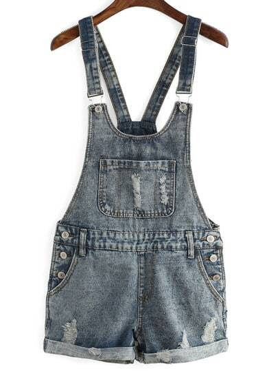 Ripped Denim Cuffed Romper pictures