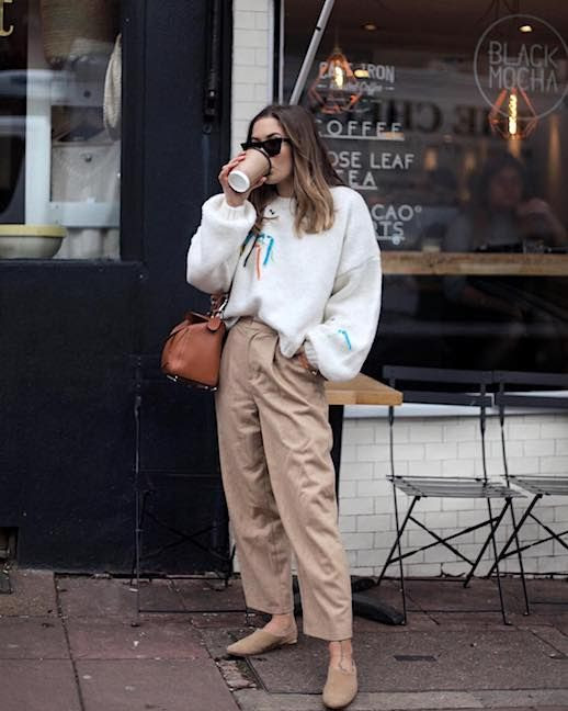 Le Fashion Blog Celine Cateye Sunglasses Topshop White Sweater Tan Cropped Trousers Tan Suede Mule Via @hannahcrosskey
